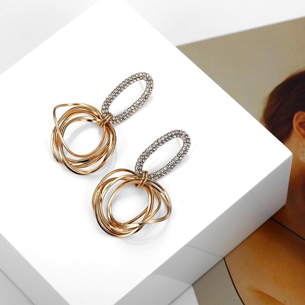 Ring geometrisches Design hohles ovales Allgleiches koreanisches Metall unregelmäßiger Diamantring und runde Ohrringe Mode Ohrringe bohren iCgNh