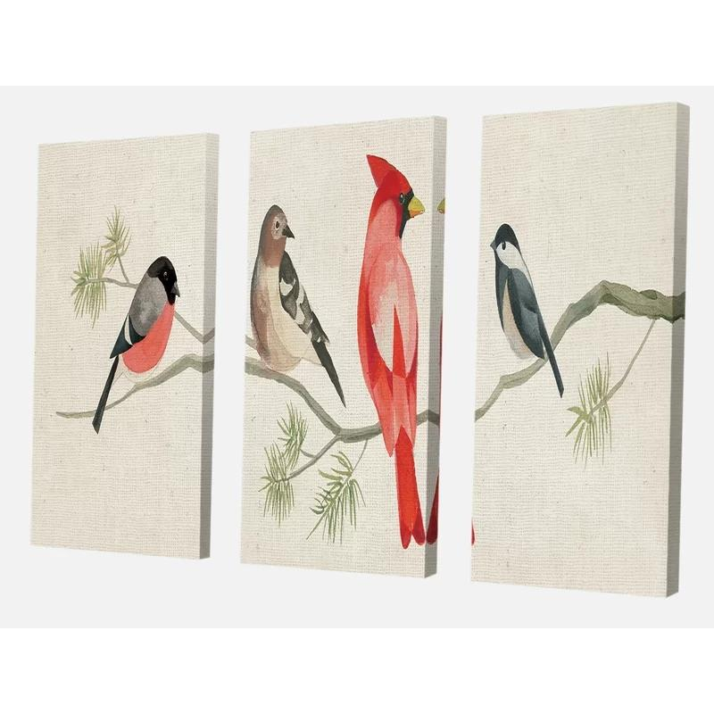 Modular Hd Prints Chickadee Pictures 3 Pcs Home Decor Red Bird Painting Breach Canvas Poster Minimalist Wall Art For Living Room