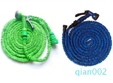 high quality 50FT retractable hose/Expandable Garden hose Blue Green color fast connector water hose with water gun