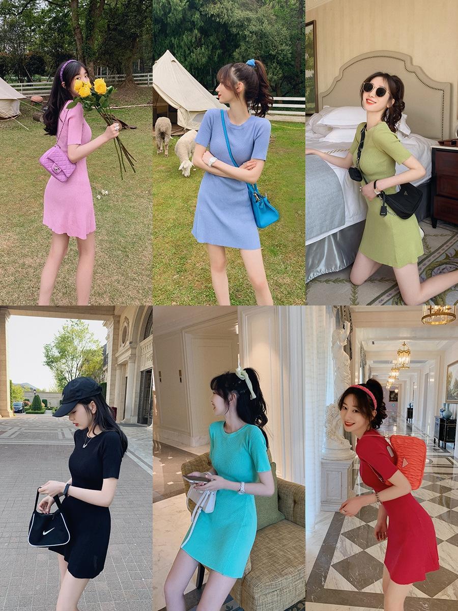 q6Lsr HEWmO стиль цвета вокруг шеи новых женщин лета 2020 вязаное платье Корейский Твердая пригонки с коротким рукавом платье