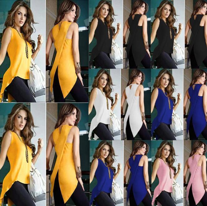 Оптовая Новые женщины рубашки лето Casual Solid Вернуться Крест Махаон Хем Асимметричный Топы женские Одежда Короткое платье F040