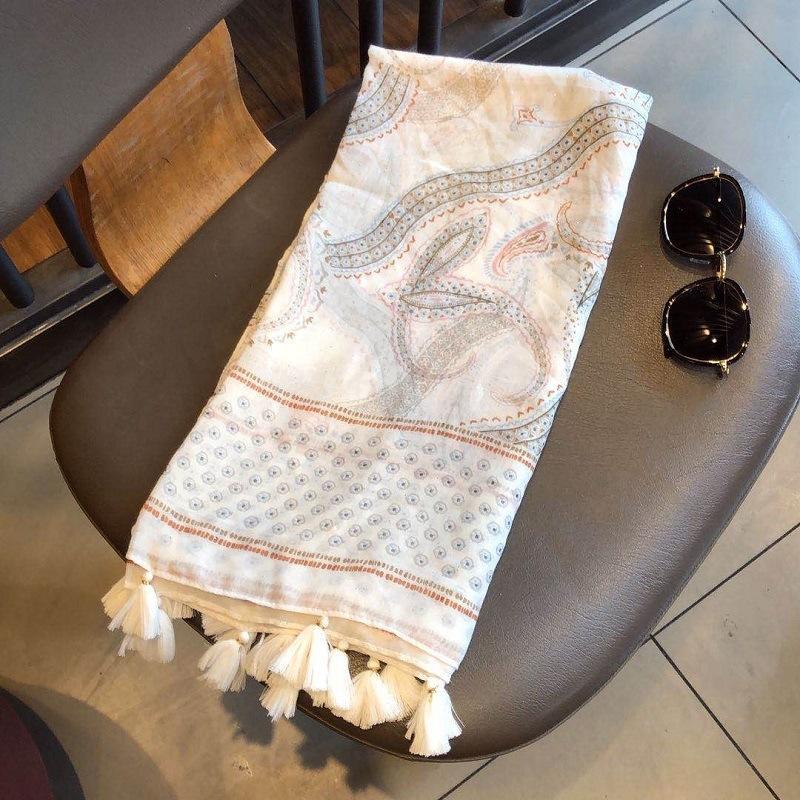 dbxkf blanca de anacardo impreso artística chal gran recorrido sol de las mujeres de algodón y lino bufanda de algodón y lino scarfprotection