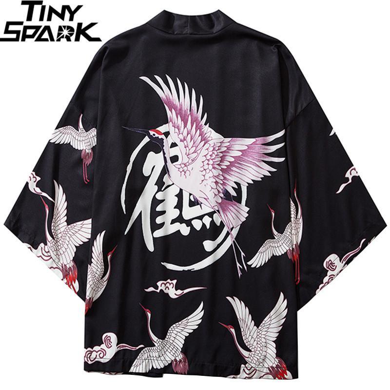Japon Kimono Ceket Vinç Kanji Baskılı Harajuku 2020 Hip Hop Erkekler Japonya Streetwear Ceket Yaz İnce Giyim Gevşek Kimono X0923 X0923