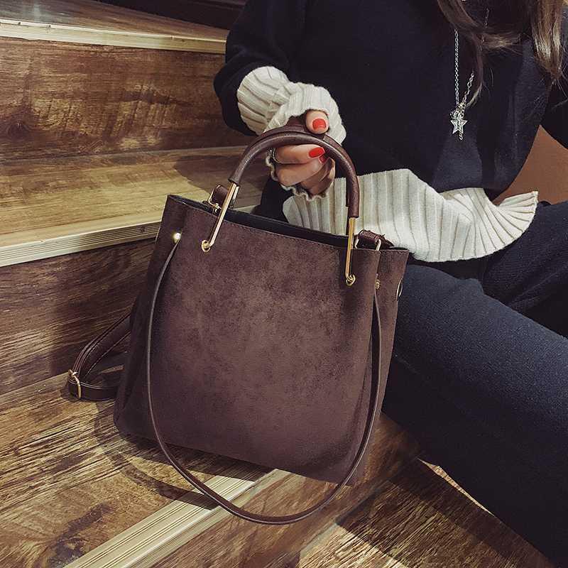 Женская мода Tote женское плечо NUBUCK сумки ведро мешок Amberler Designer Crossbody PU сумка новые повседневные кожаные женщины ELVCD