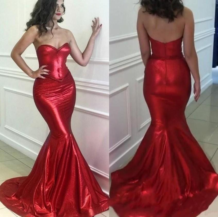 Sexy baratos reflexivo Red Mermaid Vestidos Backless Querida lantejoulas Prom vestidos de festa Vestidos Formal robe usar vestidos de noite