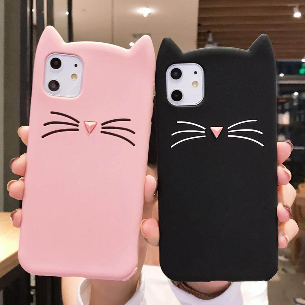 Oído de la manera linda de la caja del gato para el iPhone XS XR 11 Pro MAX 7 8 Plus TPU de silicona cubierta trasera Coque