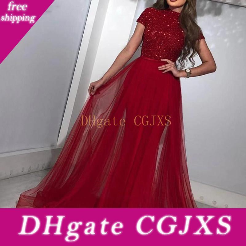 Роскошный красный с коротким рукавом вечерние платья 2019 Новый дизайн Dubai Robe De Soiree Пром платья С поезда Festa