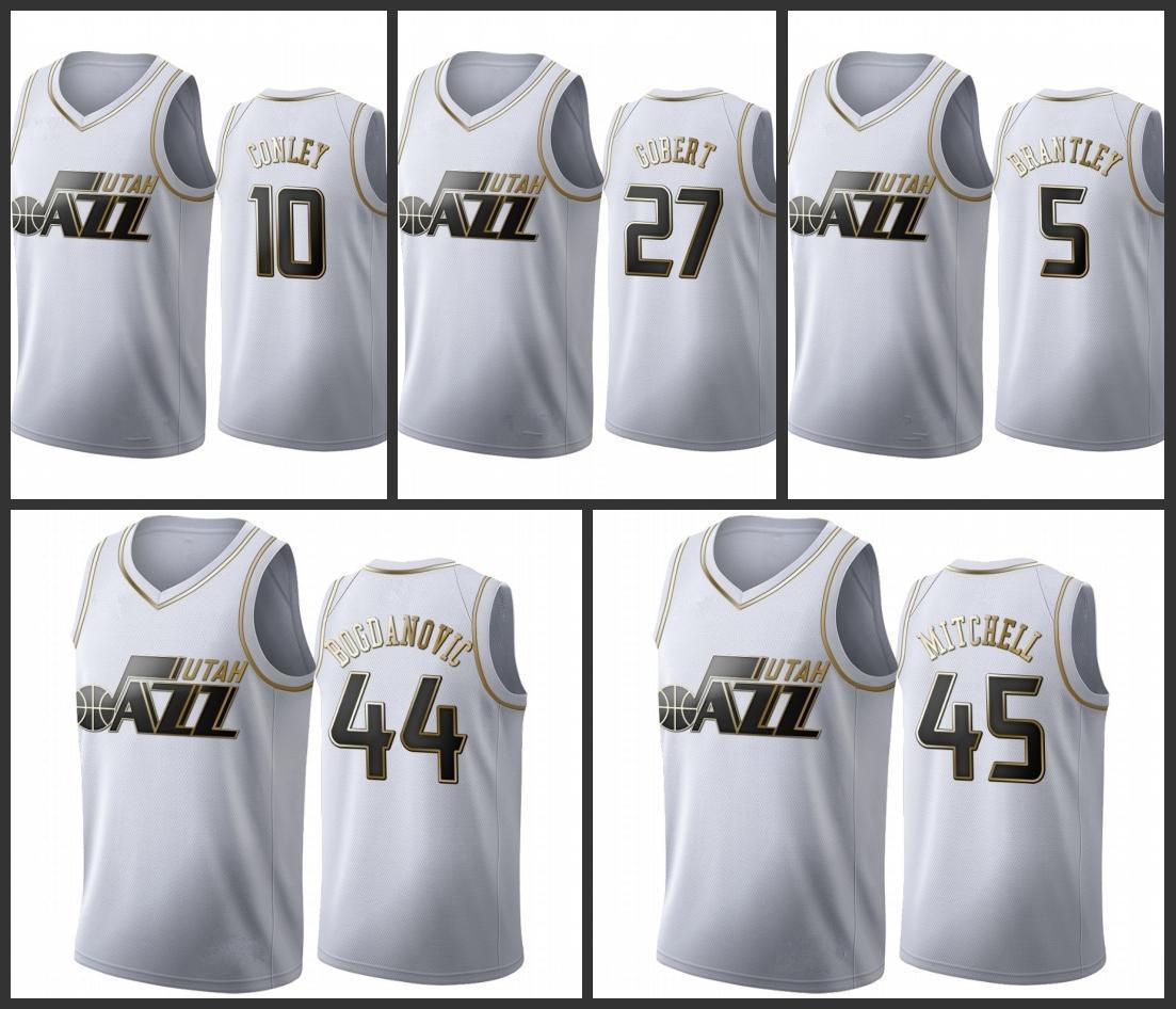 UtahJazzDonovan Mitchell Bojan Bogdanovic Jarrell Brantley Mike Conley Rudy Gobert Los hombres de oroNBA Edición maillot blanco