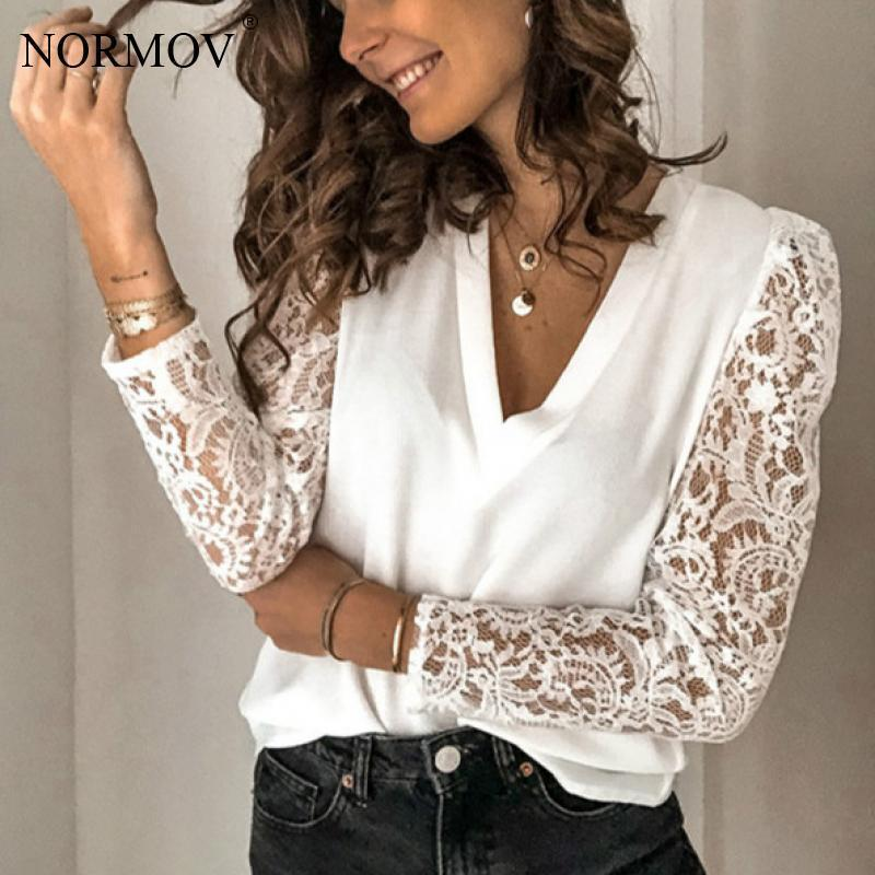 NORMOV Women White Blouse V-neck Lace Hollow Out Top 5XL Embroidery Long Sleeve Patchwork Shirt 2020 Spring Plus Size Blouses Y200827