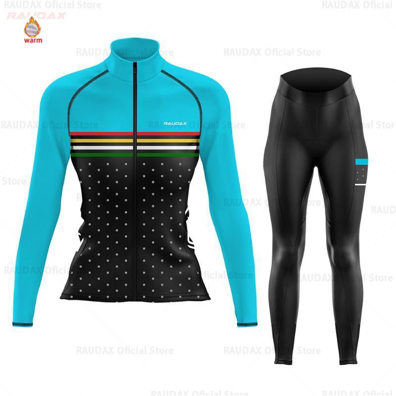 Нью-Джерси Велоспорт Женщины с длинным рукавом Zootekoi зимы ватки задействуя одежда MTB Bib Pants Set Blusas Mujer De Moda 2020