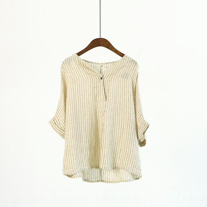 jVvct CKIN8 Style artistique manteau de lin haut printemps encolure en V à rayures courtes T-shirt chauve-souris T-shirt manches casual femmes haut