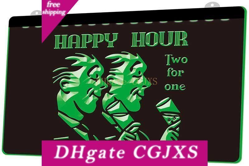 Ld0295 0 Happy Hour Two For One Rgb múltipla Cor Remoto Sinal de Controle 3d gravura Led Neon Light Shop Bar Pub Clube