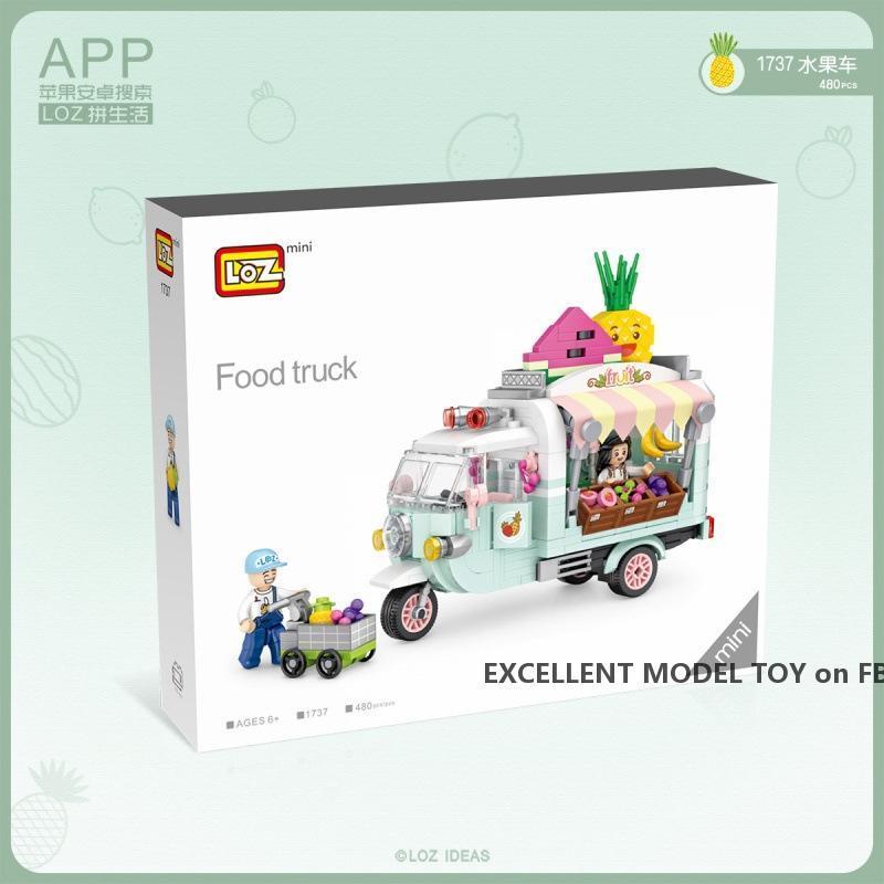 LOZ Mini Dessert Auto, Obst Tricycle, Building Blocks Modell, Mini DIY Montage pädagogisches Spielzeug, Ornament, Weihnachten-Kind-Geschenk, 1738 1738, USEU