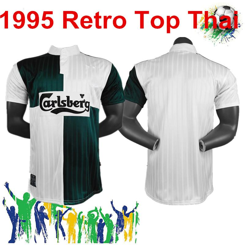 1995 retro Adult Soccer green and white topJohn Barnes Ian Rush FI Football training sports Jogging wear man kit polo shir