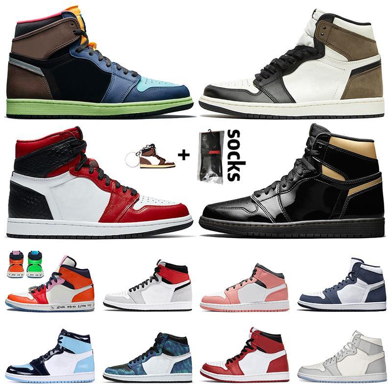 1 high og retro 1 off white jumpman 1 حذاء كرة سلة رجالي نسائي 1s Bio Hack Dark Mocha أسود ذهبي ساتان ثعبان أحذية رياضية خفيفة