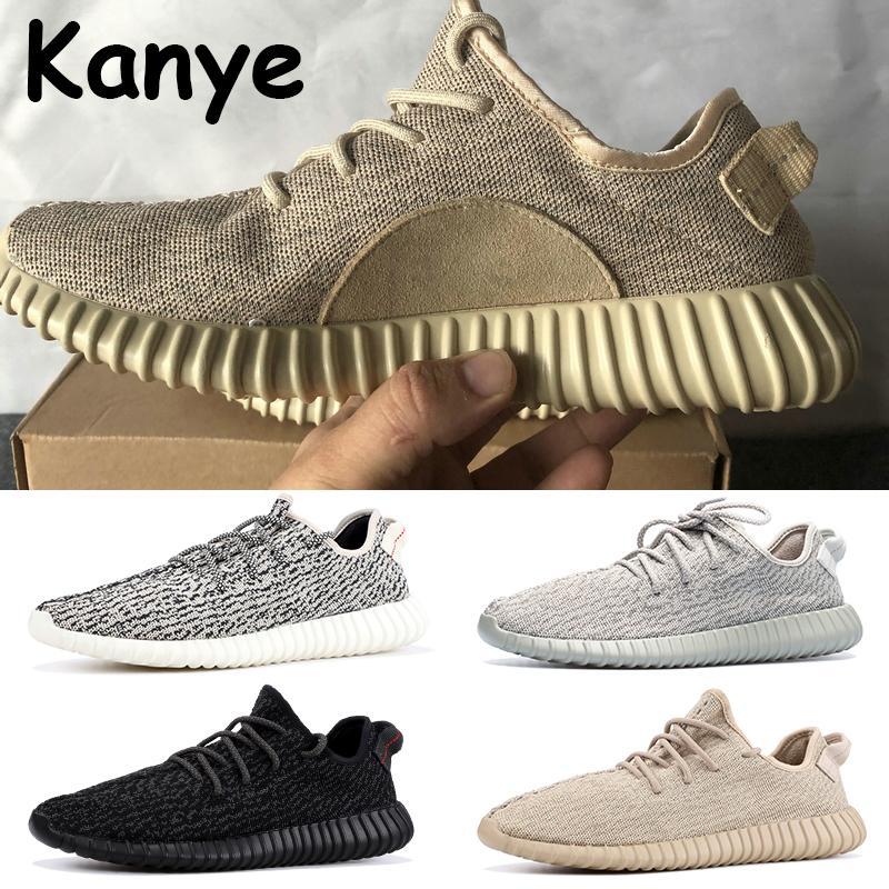 2020 Kanye Mensschuhe mit Kasten privaten schwarz Oxford tan moonrock Turteltaube Männer Frauen Sporttrainer chaussures primeknit Turnschuhe laufen