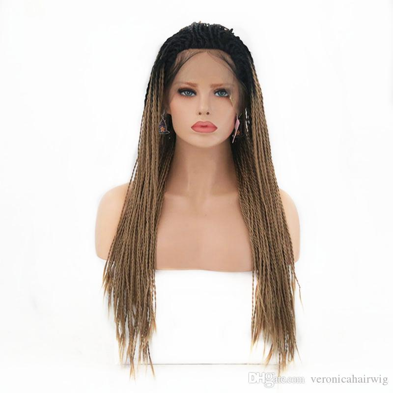 Fashion Twist Braided Synthetic Lace Front Wigs Ombre Hair With Dark Roots Brown Baby Heat Resistant Fiber For Women
