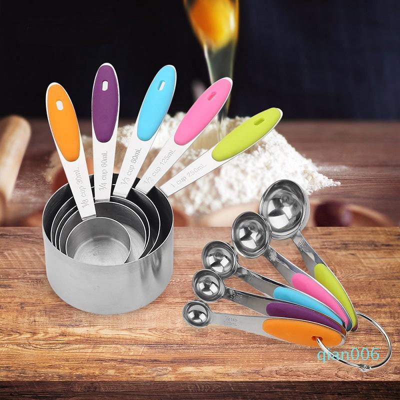 Acciaio inossidabile di dosatore Bilancia da cucina in silicone Tazze di misurazione e cucchiai Set Per Cottura Zucchero Caffè Strumenti di misura