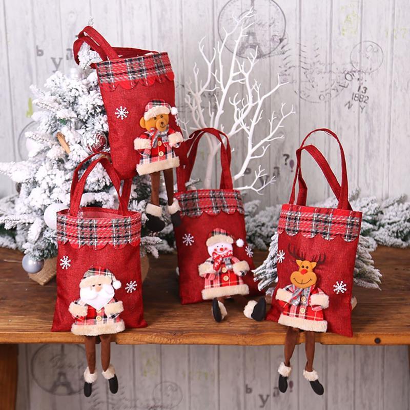 Natal Início Grocery Storage Bag Sala Cozinha Organizador Chirstmas bonecos de Elk Balde Decorações de Natal saco para casa