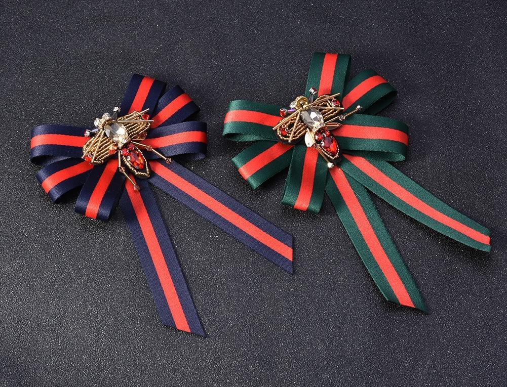 Esagerato strisce fiocco in tessuto ornamenti moda spilla ape farfalla accessori spilla pin accessori vendita calda CM1109 X051F
