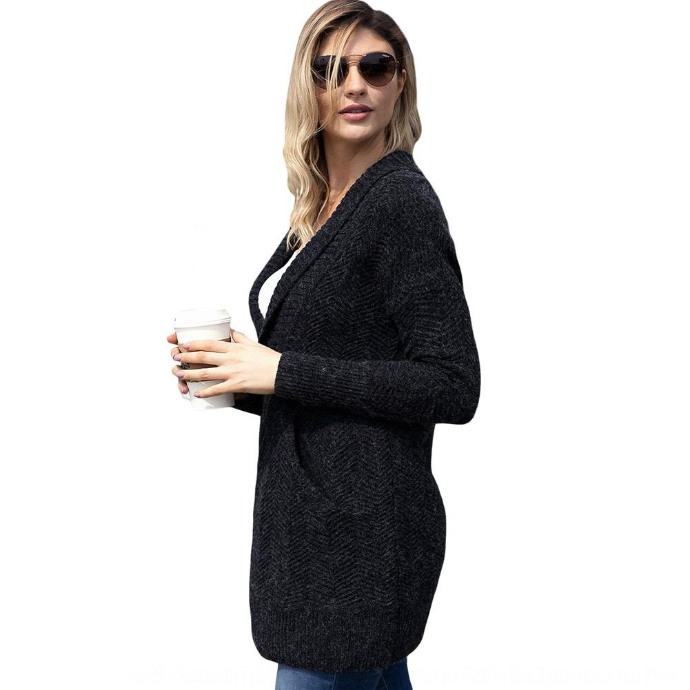 GEZAa Shiying Neue und Winter Pullover Pullover Herbst Revers der Frauen Ärmeltasche mittellange Pullover lange Pullover 27826