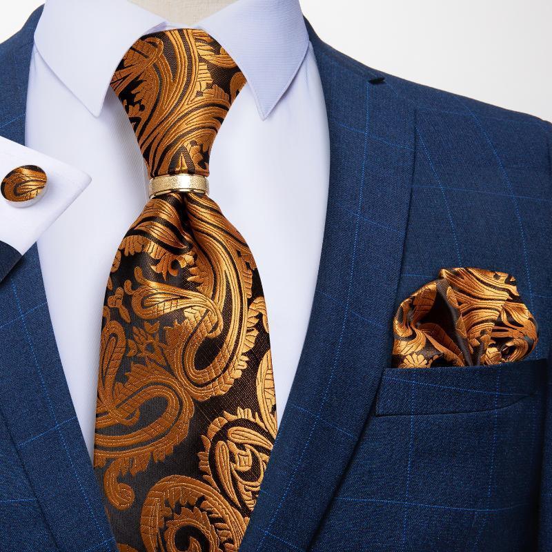 Acessórios Cravat partido gravatas de seda Jacqurd tecido gravata lenço Ring Set Wedding negócio dos homens de Paisley Ouro de luxo