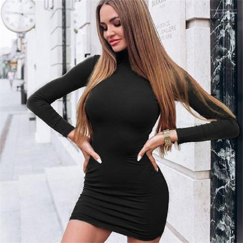 Fashion Female Apparel Designer Womens Bodycon Dresses Solid Color Long Sleeve Turtle Neck Sexy Ladies Dresses