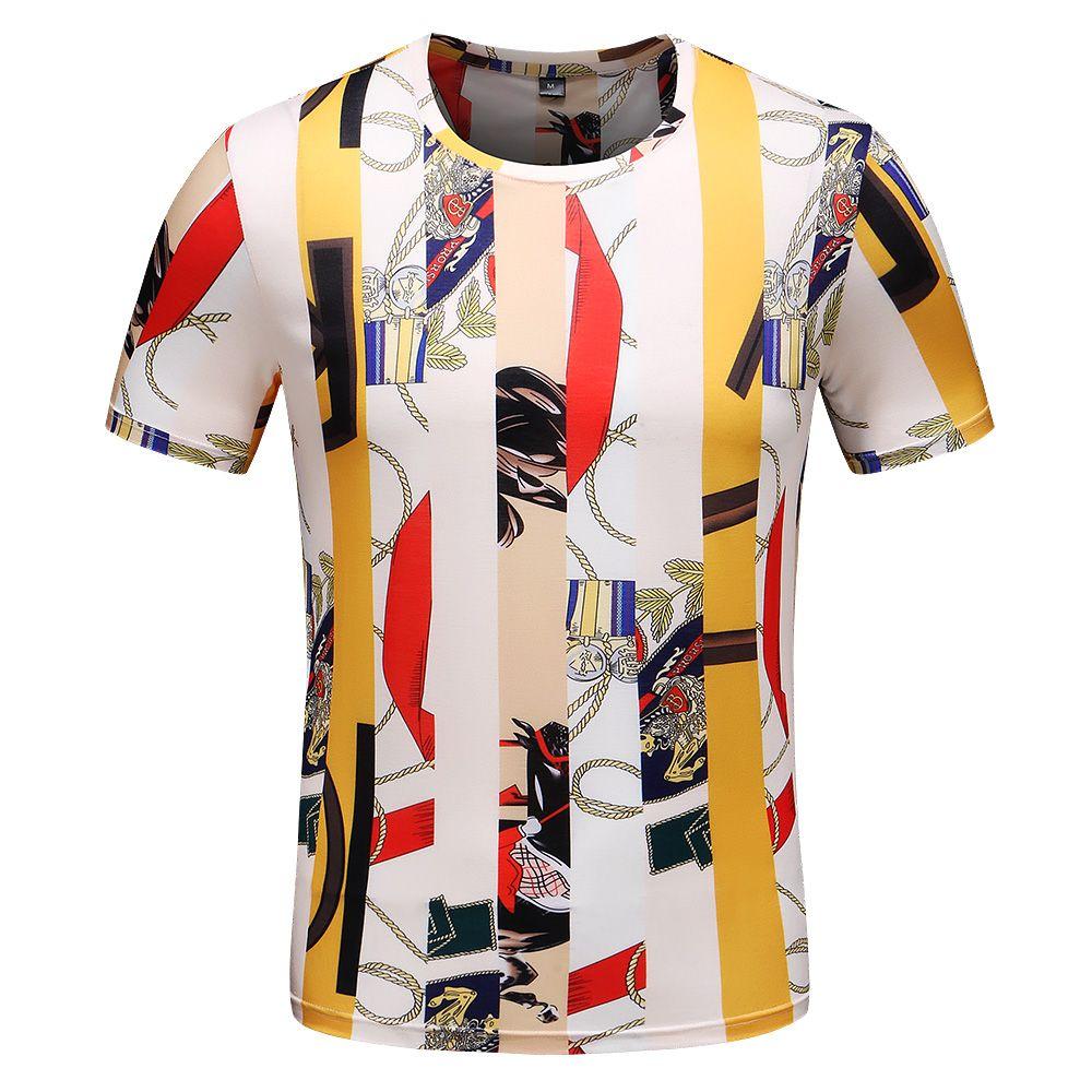 NEW heißer Verkaufs-T-Shirt Männer Kurzarm Baumwolle Herren Markendesign Gedruckte Muster Mannschaft Kragen beiläufige Oberseiten der Mann mit Tags M-3XL