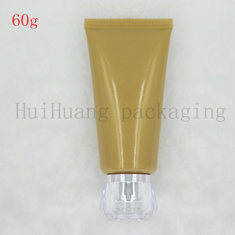 30pcs 60g Esvaziar Soft Gold recarregáveis de plástico Loção bisnagas Empacotamento cosmético, mangueira cover Screw