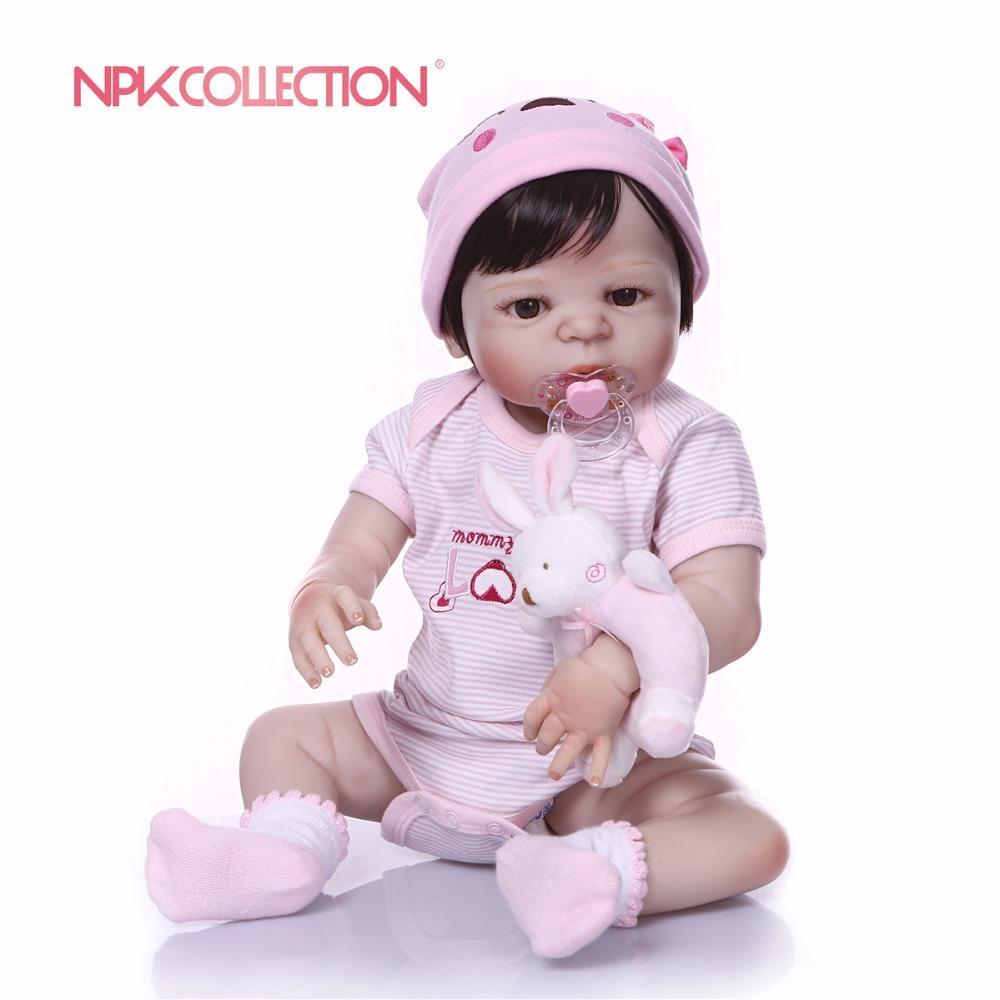 NPK 57cm Pembe Tam Vücut Silikon Kız Reborn Bebekler Bebek Oyuncak Prenses Bebekler Bebek Peruk Saç Doğum Hediye Noel hediyesi