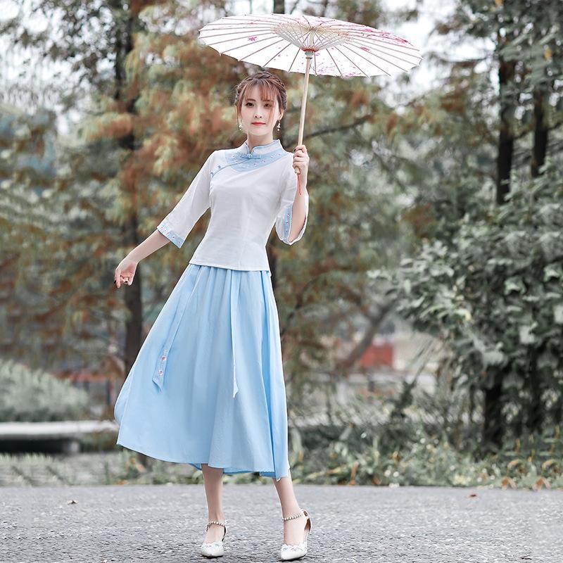 ye7x9 superior 2020 nuevo estilo étnico artística de algodón ropa de última moda y ropa de cama de algodón étnico y conjunto de mediados de la manga bordado + falda de la parte superior