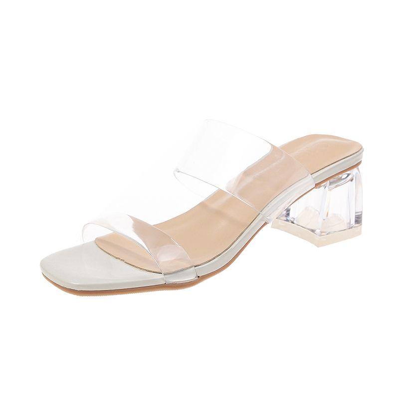 2020 Donna Sandali Scarpe Celebrity Indossare stile semplice in PVC trasparente con cinghietti Buckle Tacchi alti donna Heels giallo trasparente