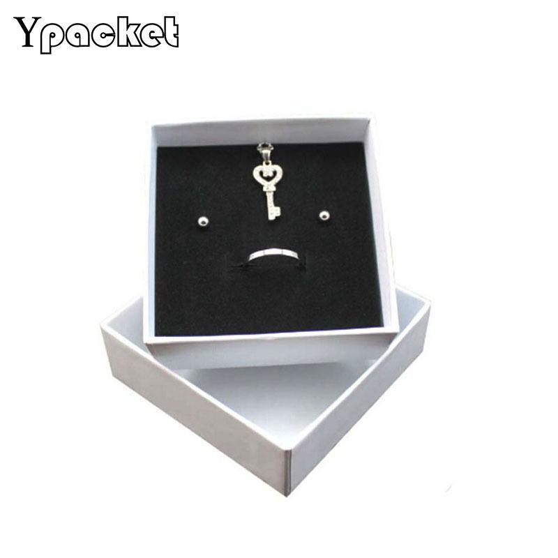 50pcs / Lot Картонная комплект ювелирных изделий коробки подарка ожерелье Упаковка коробки Организатор Box Белый Розовый Губка Внутри прямоугольника MX200810