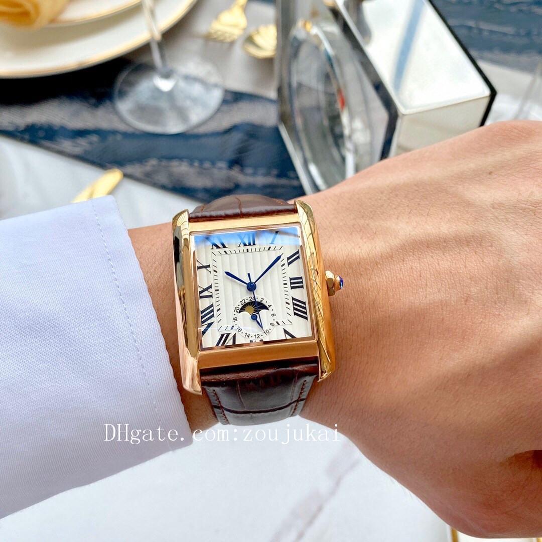 2020 роскошный дизайнерский бренд фазы луны танк часы мужской Joker кожа наручные часы квадратные мужские часы D3122