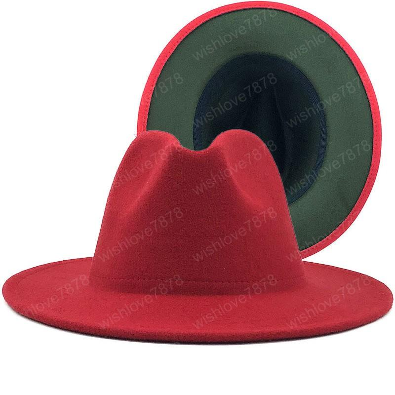 winter Outer red Inner Army Green Wool Felt Jazz Fedora Hats with Thin Belt Buckle Men Women Wide Brim Panama Trilby Cap
