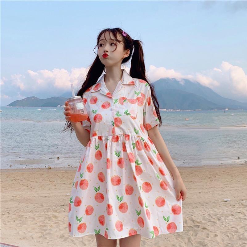 Japão Fresh Style A-line Vestidos Mulheres Doce Collar Ligue-down manga curta Grapefruit impressão de alta vestido de cintura Student solto vestido