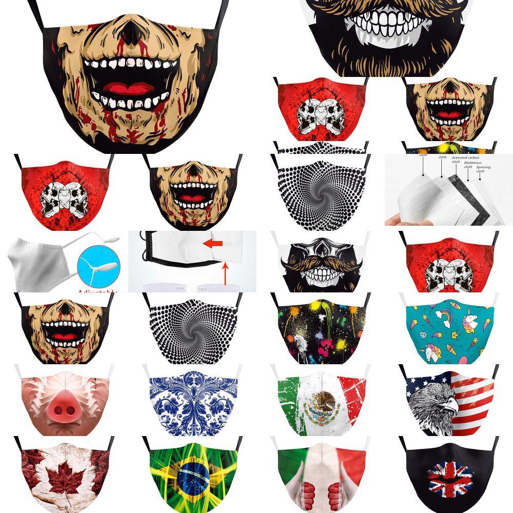Maske Dhl Drucken Spanien Schädel-Flagge Italien Halten Kämpfen Gesichtsmasken Stoff Adult Protective Pm2 Oc9e