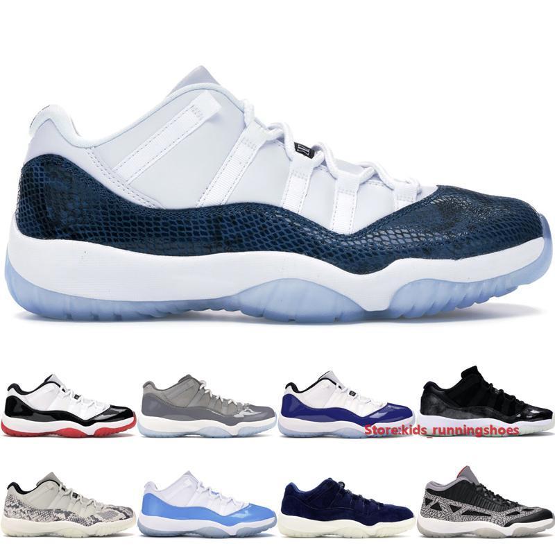 Calidad alta Jumpman 11 zapatos bajos IE baloncesto para los hombres tamaño de las mujeres 2020 Negro Cemento Universidad azul de la serpiente marina de guerra de Gran Babys capacitadores 36-47
