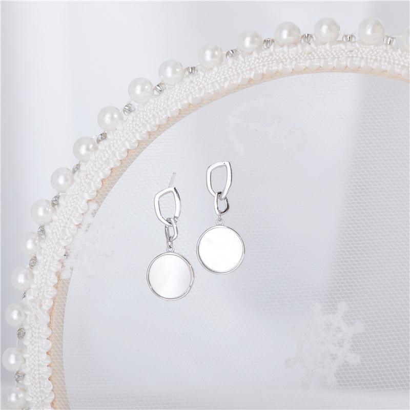 argento WSeVd S925 bianco naturale rotonda di Shell eardrop orecchino di modo e gli orecchini piccoli semplici fresca orecchini geometrici delle donne