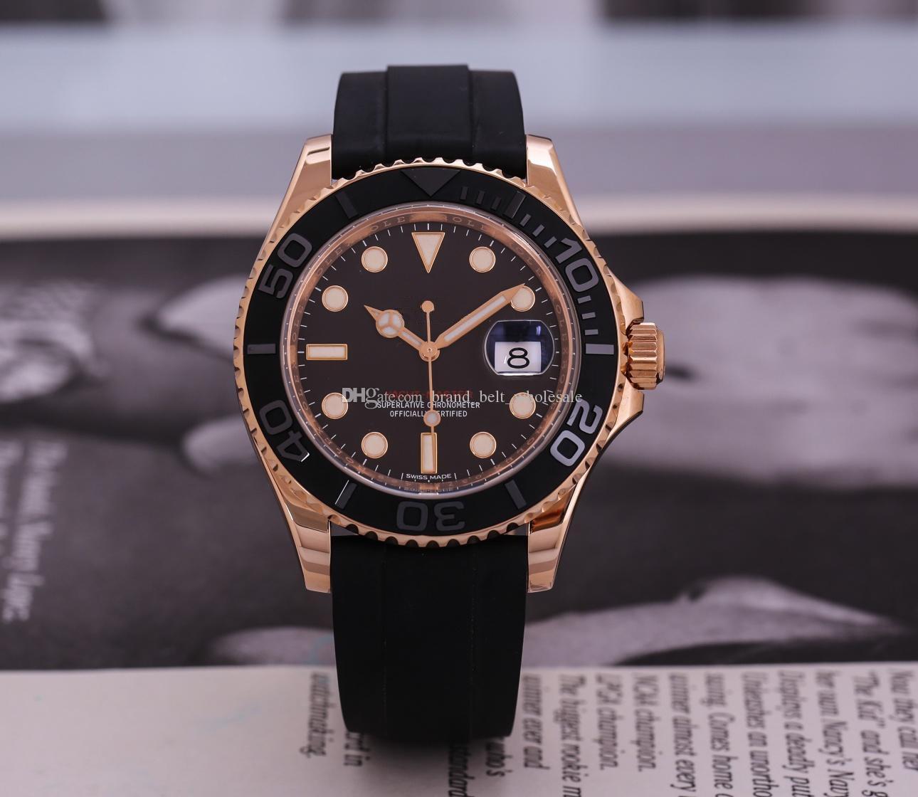 Высококачественные азиатские часы 2813 спортивные автоматические механические мужские часы 116655 розовый золотой резиновый ремень 40 мм матовый черный циферблат запястья