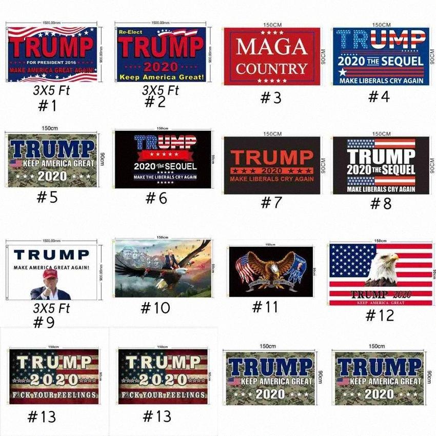 Bandera Trump 90 * 150cm 13 estilos Trump 2020 Banderas mantener a Estados Unidos Bandera Gran MAGA estadounidense Elección Presidencial Trump CYZ2484 100Pcs WaJg #