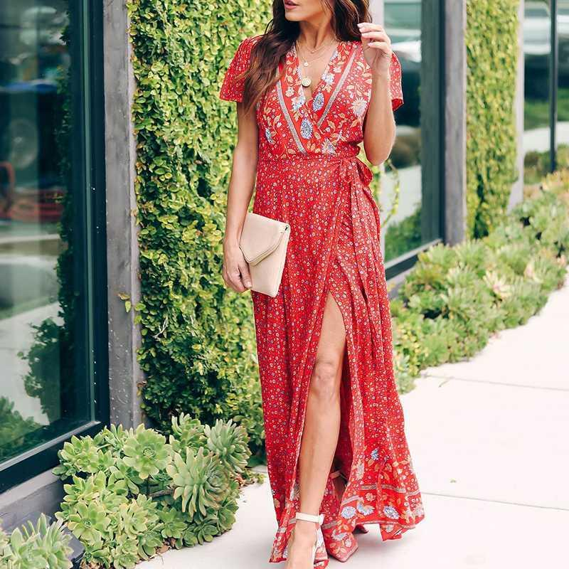Women Boho Dress Red Robe Plage V Neck Side split Sexy Elegant Lady Party Dress Bathing suit Cover ups Tunic for Beach Sarong