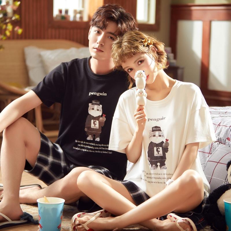 jW0Im Stil koreanische 2020 nach Hause wo Sommer Kurzarm-Pyjama Pyjama Baumwolle Liebe lebendig Männer und Paare Frauenkleidung stellte
