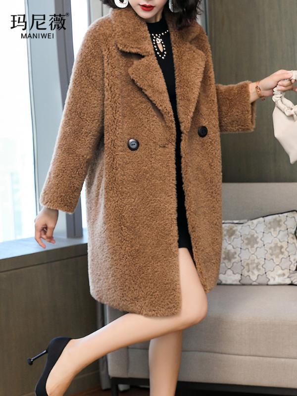 2020 donne vestiti invernali capispalla cappotti reali nuova sezione lunga di lana pelliccia sciolto cappotto di pelliccia 1023