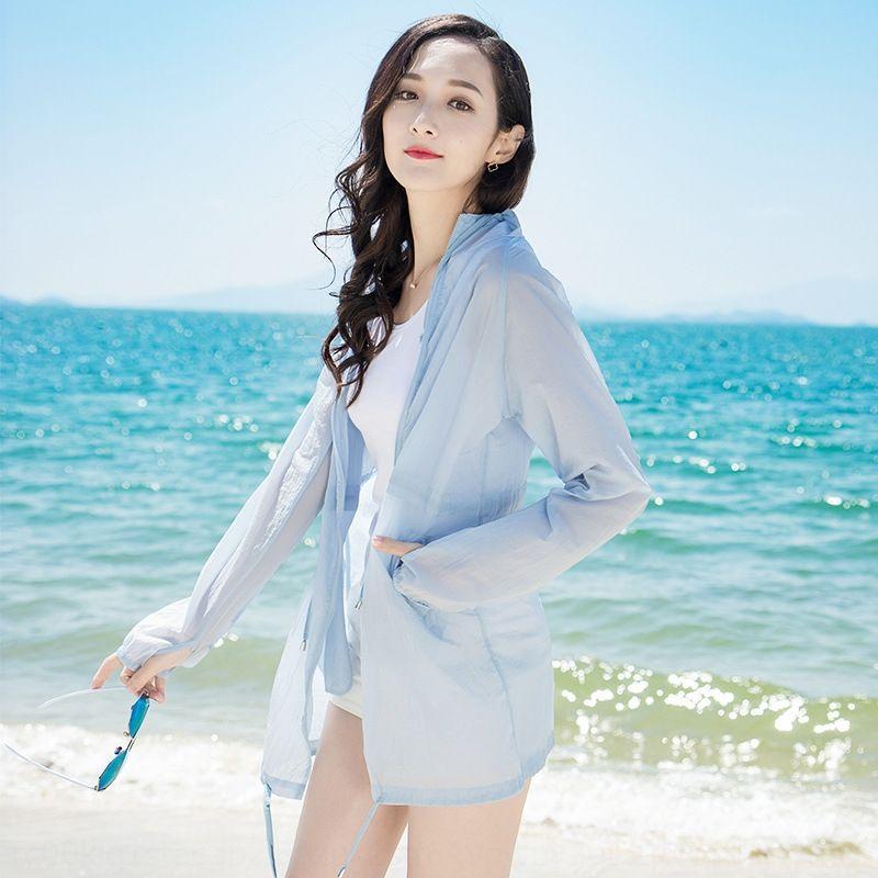 protector solar al aire libre de la piel protección UV larga y delgada de las mujeres de secado rápido ropa de hielo con capucha mitad de la longitud de ropa de protección solar de seda jmp8c
