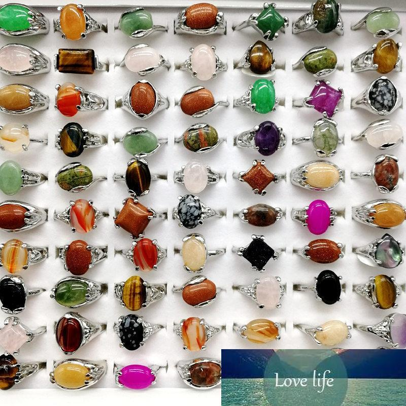 Fashion 30 Pieces/lot Rainbow Stone Ring Mix Style Designs Women's Natural Stone Ring Jewelry Gift