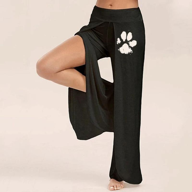 Женщины Йога Брюки для печати Casual собаки Wide Leg Side щелевая лёгкой струящейся Йога Брюки Сыпучие Pant Брюки Бег Брюки Tight Спорт Тренажерный зал