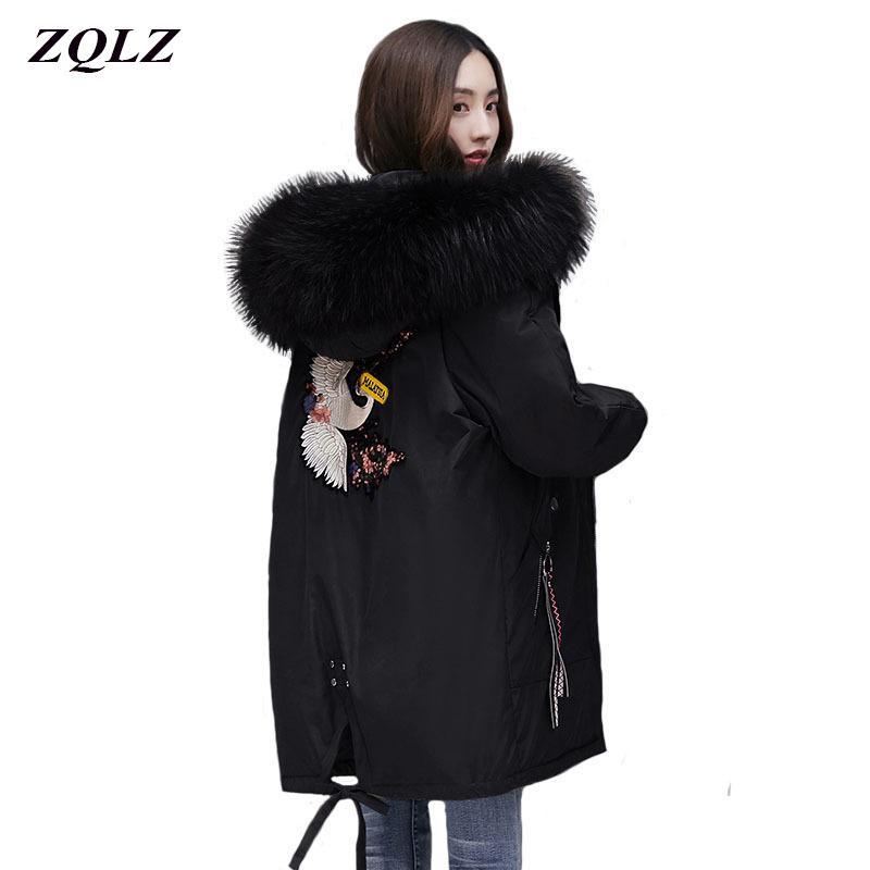 ZQLZ chaqueta de las mujeres del invierno 2020 Nueva bordado casual con capucha caliente de la capa de algodón por ma femenino flojo Negro Largo Parka Mujer