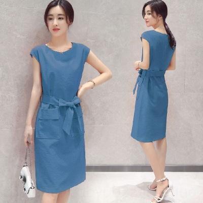 Важдайте Новые корейского стиль большого размера тонкой тонкая средней длиной короткие рукава для платья и белья дышащих без рукавов случайного платья хлопка женщин Суммы