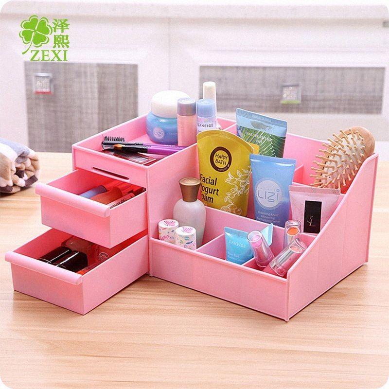 Escritorio creativos cosméticos cajón de plástico reciben un caso de escritorio cajas de joyas E6VZ #